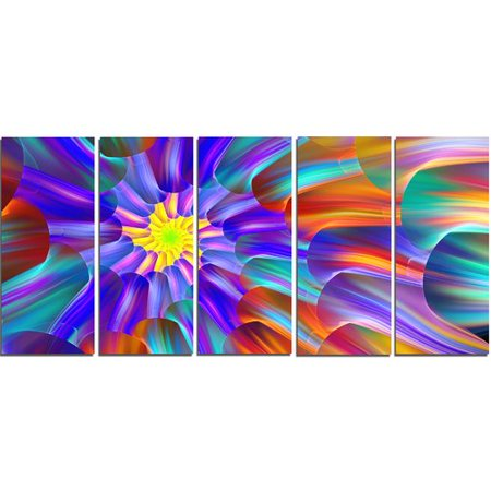 Design Art 'Spectacular Stain Glass with Spirals' Graphic Art Print Multi-Piece Image on Canvas Design Orange Fused Glass
