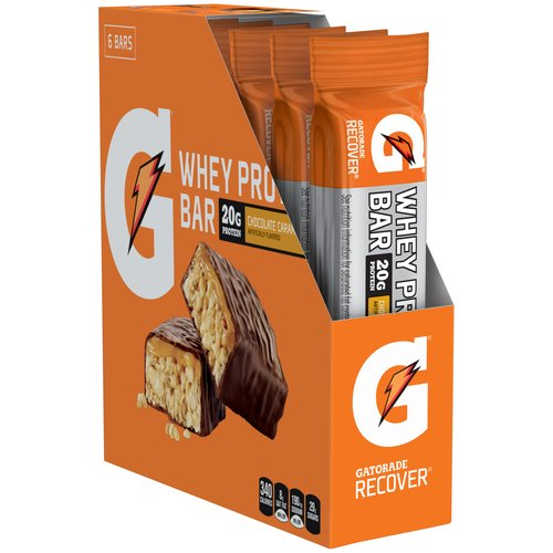 Gatorade Recover Chocolate Caramel Whey Protein Bars, 6 count, 16.9 oz