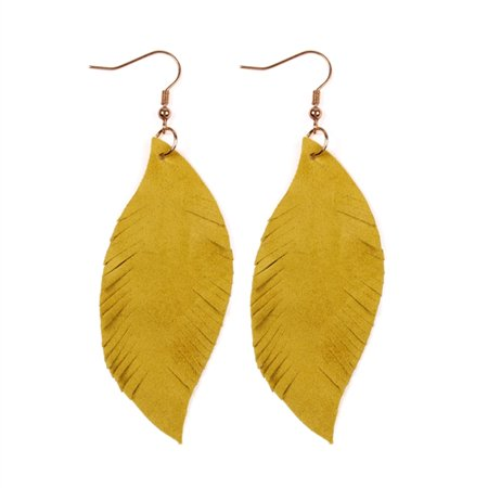 Riah Fashion Fringe Suede Leather Drop Earrings (Antique Red Gold Earrings)