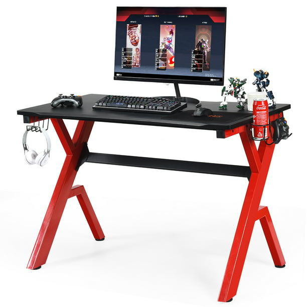 Costway Gaming Desk Computer Desk w/Controller Headphone storage Mouse Pad & Cup Holder