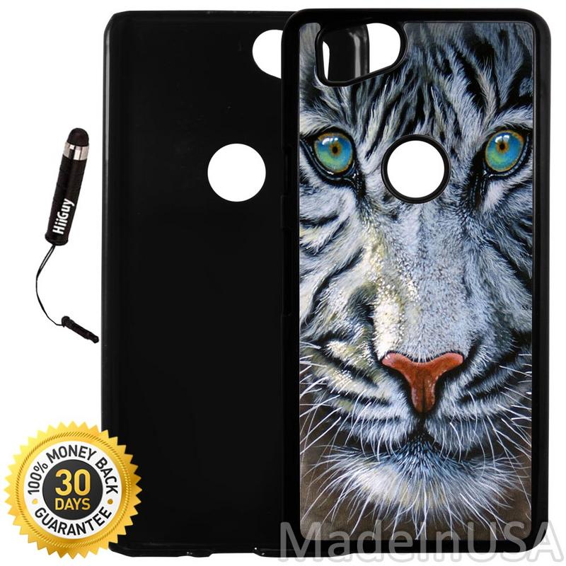Custom Google Pixel 2 Case (Bengal Tiger Blue Eyed Royal White) Plastic Black Cover Ultra Slim | Lightweight | Includes Stylus Pen by Innosub