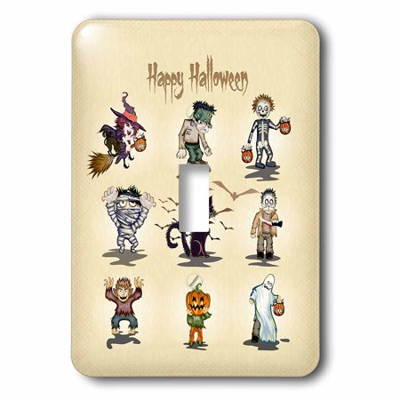 3dRose Happy Halloween Spooky Monsters and Creatures Witch Frankenstein Mummy Werewolf And More Design, Single Toggle Switch - Switch Witch Light Up Halloween Costume