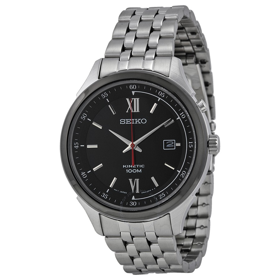 Seiko Kinetic Black Dial Stainless Steel Mens Watch SKA659