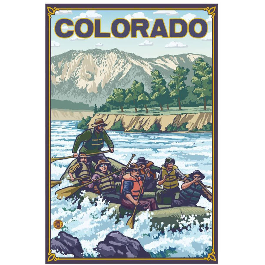 River Rafting - Colorado: Retro Travel Poster by Eazl Cling
