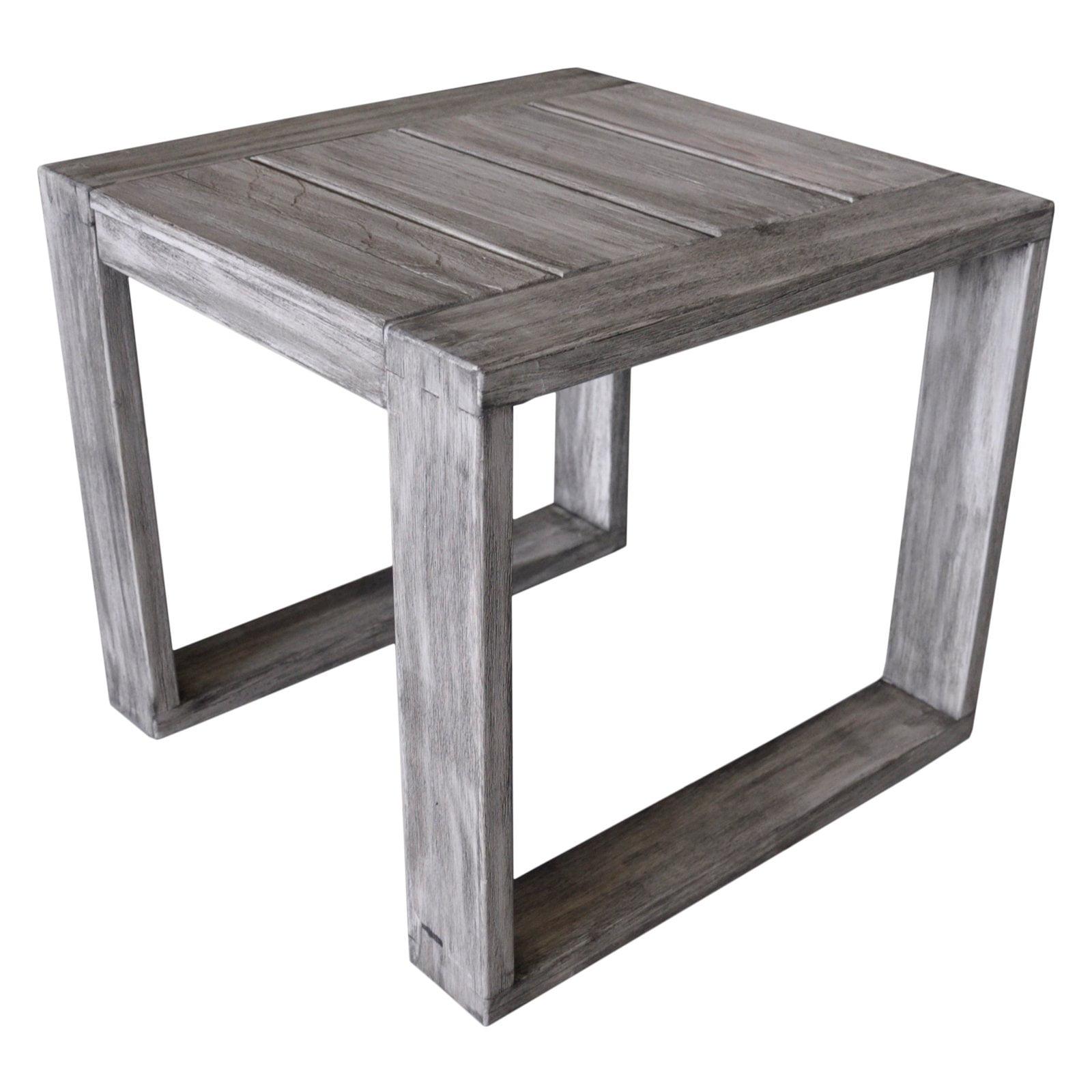 Driftwood Teak Table: Driftwood Gray Teak Modern North Shore Outdoor Side Table