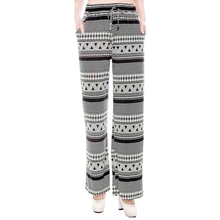 Casual Wide Leg Pants in Tribal Inspired Print, (Tribal Print Pant Set)