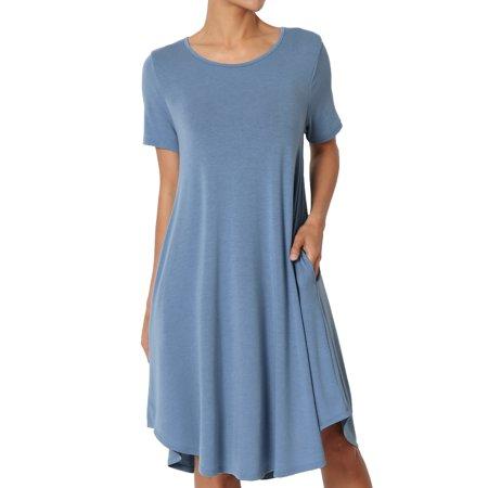 Blue 16 Pocket Square - TheMogan Women's PLUS Short Sleeve Trapeze Jersey Knit Pocket T-Shirt Dress