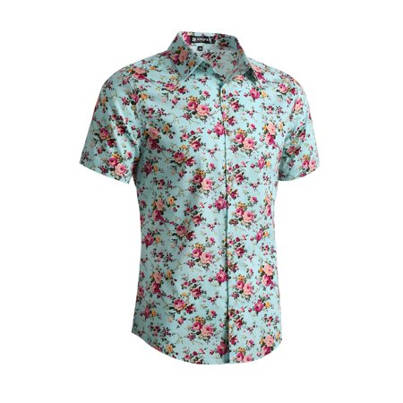 Men's Short Sleeve Button Front Floral Print Cotton Hawaiian (Floral Print Button Front Shirt)