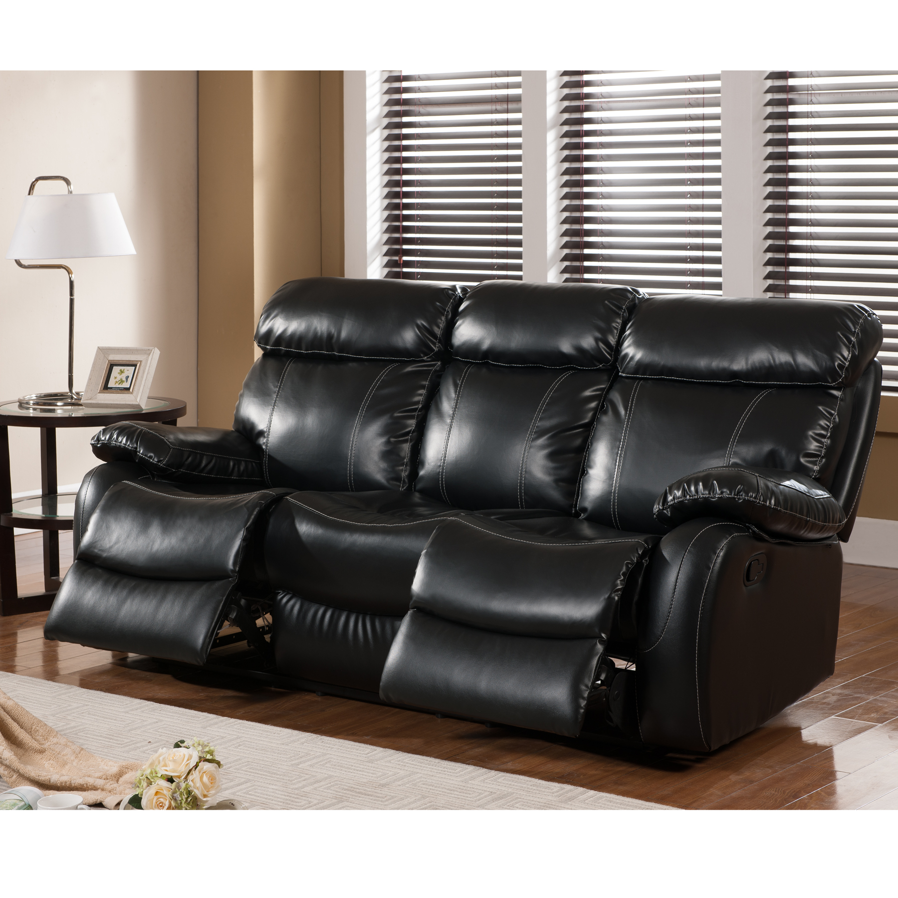 Primo International Penache Leather Upholstered Recliner Sofa