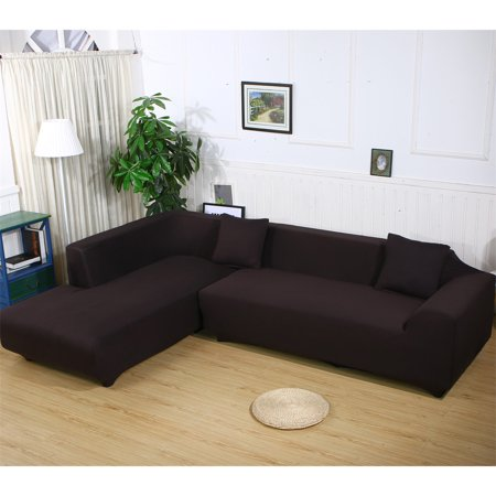 Sofa Covers For L Shape 2pcs Polyester Fabric Stretch Slipcovers 3