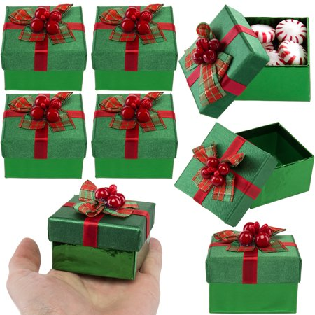 For Keeps (8 Pack) Mini Gift Boxes With Lids, Bows For Small Holiday & Christmas Presents Bulk Lot - Large Christmas Gift Boxes With Lids