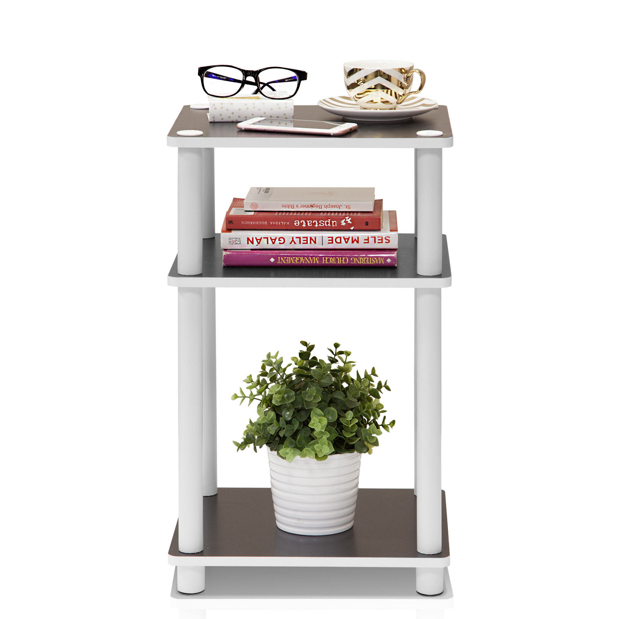 Furinno 11087 Just 3-Tier No-Tools Tube End Table by Furinno