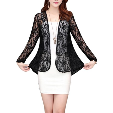 Women Summer Open Front Thin Cardigan Sun Protection Short Lace Clothing Tops