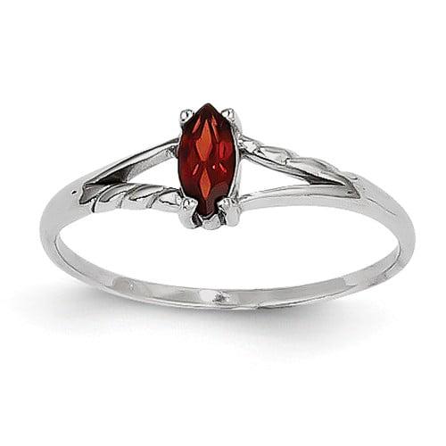 14k White Gold 6x3 Marquise Garnet Birthstone Ring by Jewelrypot