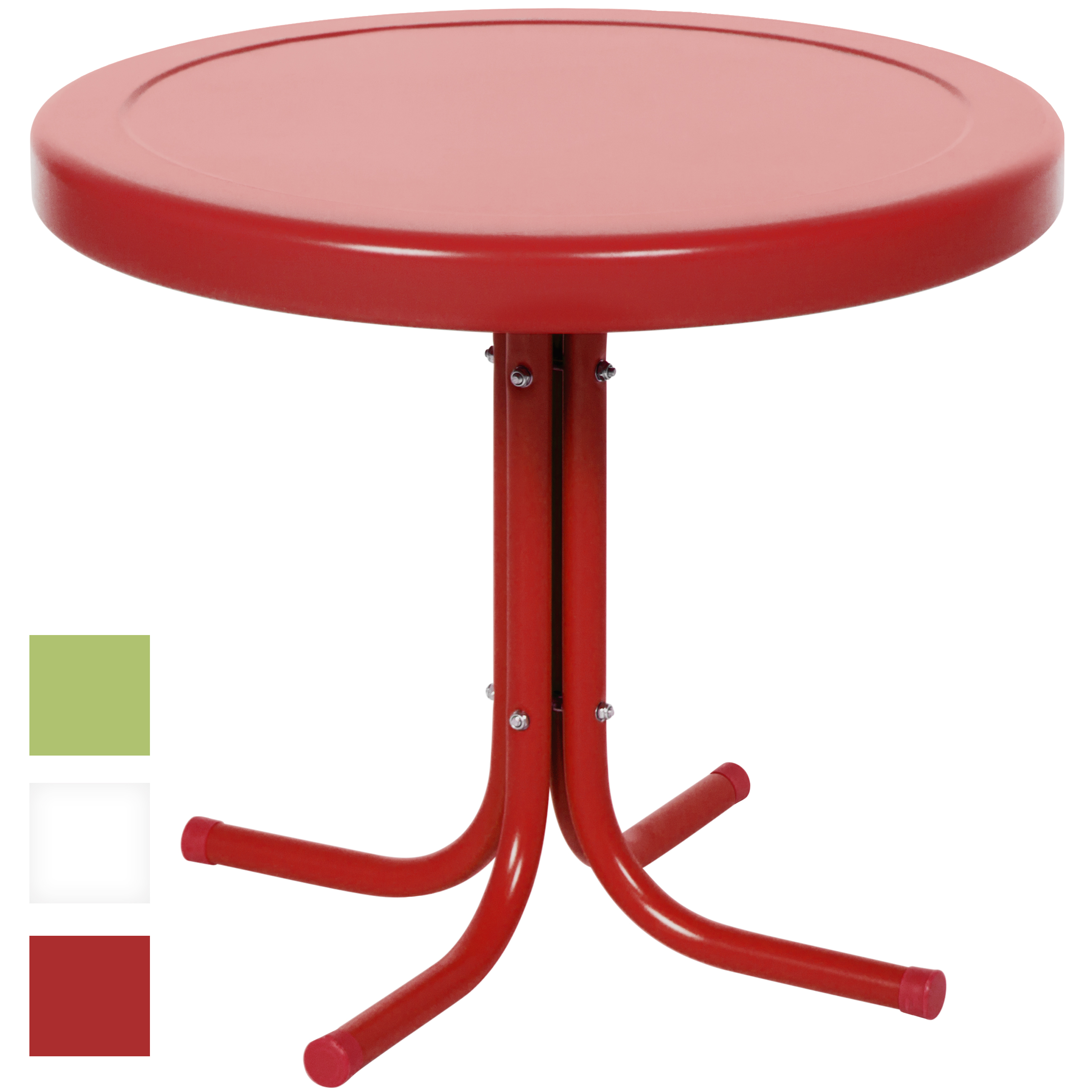 best choice products patio outdoor metal round side table red