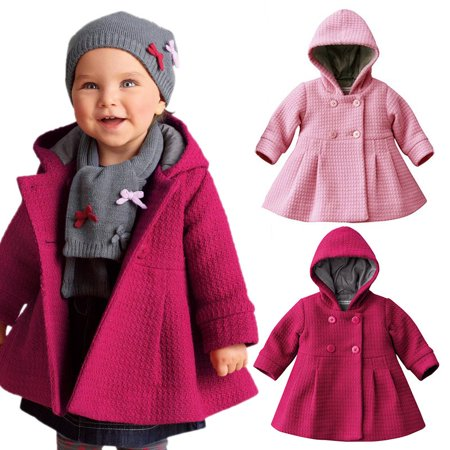 BOBORA Toddler Baby Girls Kids Winter Hooded Coat Button Outerwear Jacket (Girls Hooded Winter Jacket)
