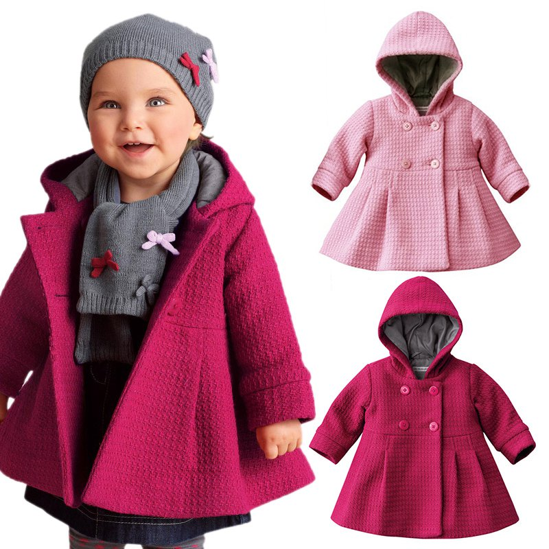 BOBORA Toddler Baby Girls Kids Winter Hooded Coat Button Outerwear Jacket Clothes