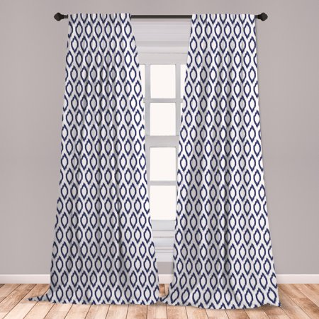 Ikat Curtains 2 Panels Set, Eastern Ornament in Blue Exotic Art Elements Curves Simple Design, Window Drapes for Living Room Bedroom, Navy Blue White, by Ambesonne ()