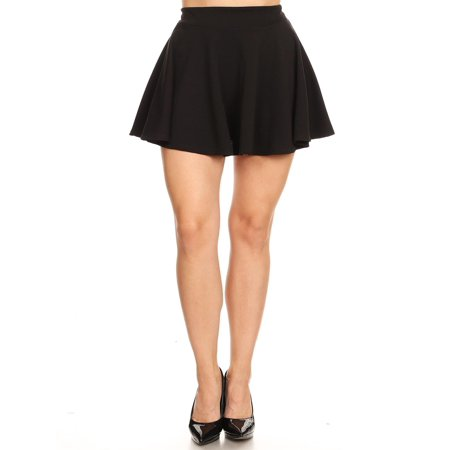 NEW MOA Women's Basic Solid Pull-On Pleated Thick Waistband A-Line Mini Skirt Black Vinyl Mini Skirt