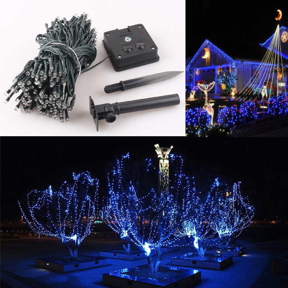 GZYF 12M Blue 100-LEDs Solar Powered Light Xmas Christmas Party Wedding String Fairy Lights Home Patio Indoor Outdoor Garden Tree Patio Pool Decor Waterproof