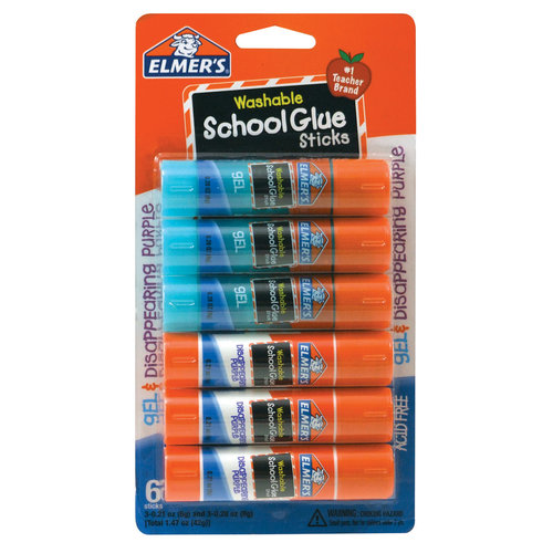 Elmer's School Glue Stick, Assorted, 6pk