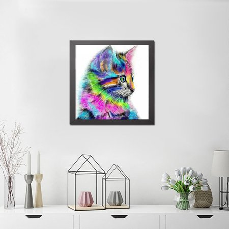 12 * 12 inches/30 * 30cm DIY 5D Diamond Painting Kit Colorful Cat Pattern Resin Rhinestone Embroidery Cross Stitch Craft Home Wall Decor - image 2 of 7