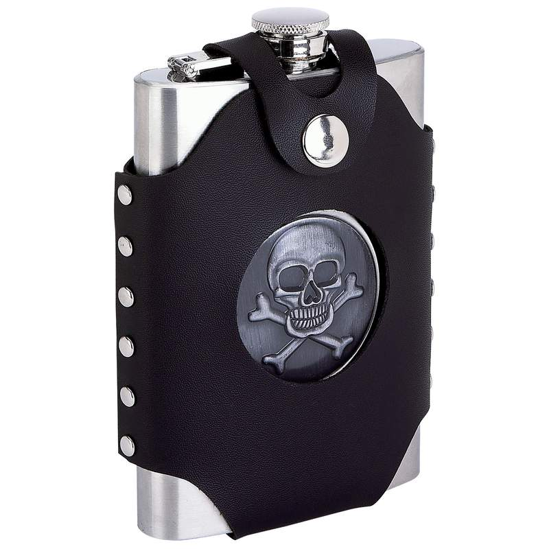 Maxam® 8oz Stainless Steel Flask with Sheath