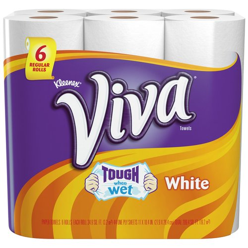 Viva White Paper Towels, 44 sheets, 6 rolls