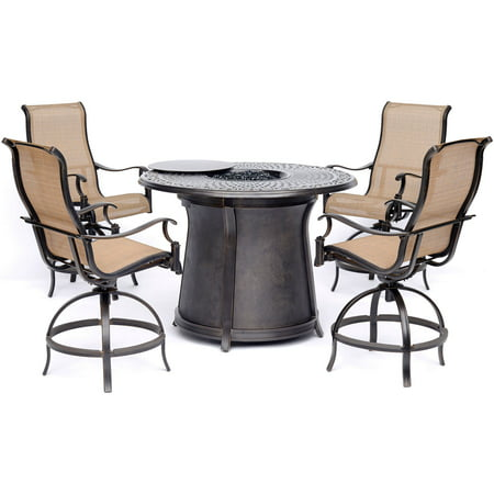 Hanover Manor 5 Piece High Dining Set In Tan With 4 Swivel