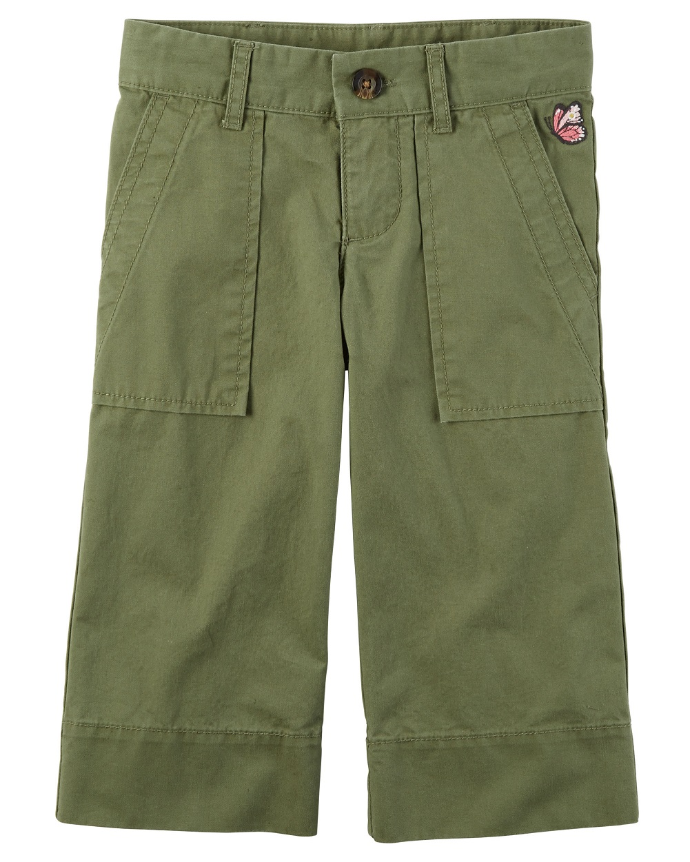 Carter's Little Girls' Embroidered Culotte Pants, Khaki Green, 3-Toddler