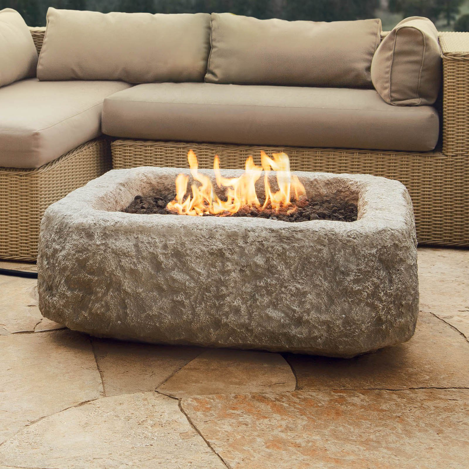 Real Flame Antique Stone Square Propane Fire Pit Table