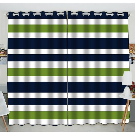 GCKG Navy Blue,Green And White Stripe Window Curtain Kitchen Curtain Size 52(W) x 84 inches (Two Piece) ()