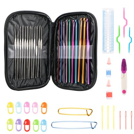 TSV 49PCS Crochet Hook Knit Yarn Weave Knitting Needle Clip Marker Tool Set W/Case ()