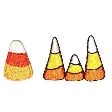 ID 0855AB Set of 2 Candy Corn Patches Halloween Embroidered Iron On
