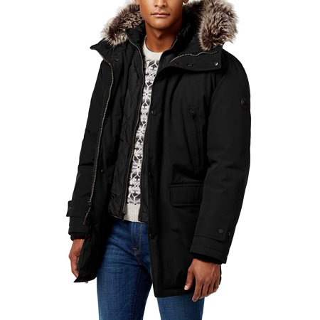 Michael Kors Men's MMK791896 Heavyweight Hooded Snorkel Parka Coat with Bib - Black - (Michael Michael Kors Mens Hooded Bib Snorkel Coat)