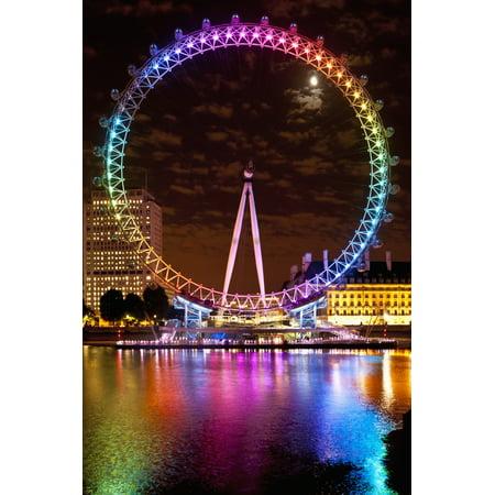 Big Wheel Aka London Eye Lit Up With The Rainbow Colours During Pride Night London Uk