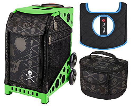 ZUCA Skulls Sport Insert Bag and Green Frame, Gift Lunchb...