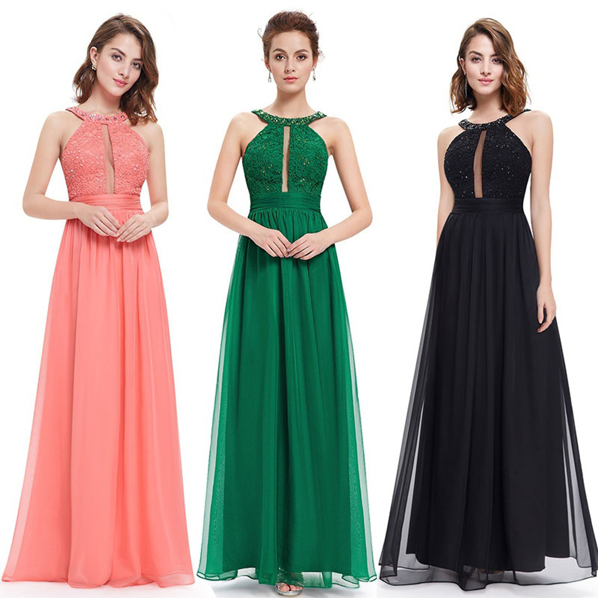 Ever-Pretty Sexy Long Evening Gown Halter Bridesmaid Prom...