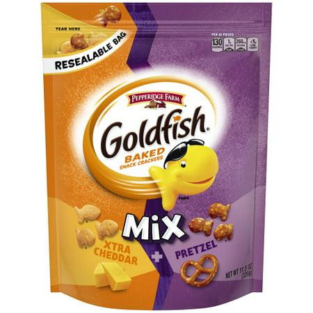 Pepperidge Farm Goldfish Mix Xtra Cheddar + Pretzel Crackers, 11.5 oz. Resealable Bag (Mix 2kg Bag)
