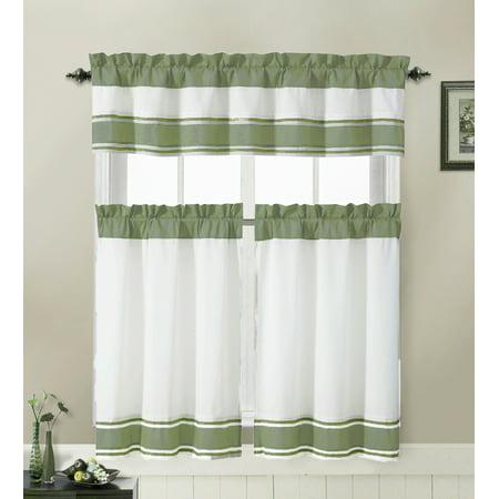 3 Piece Kitchen Cafe/Tiers Window Treatment Set: Pintuck Accent Stripes, 2 Tier Panels, 1 Valance (Sage)