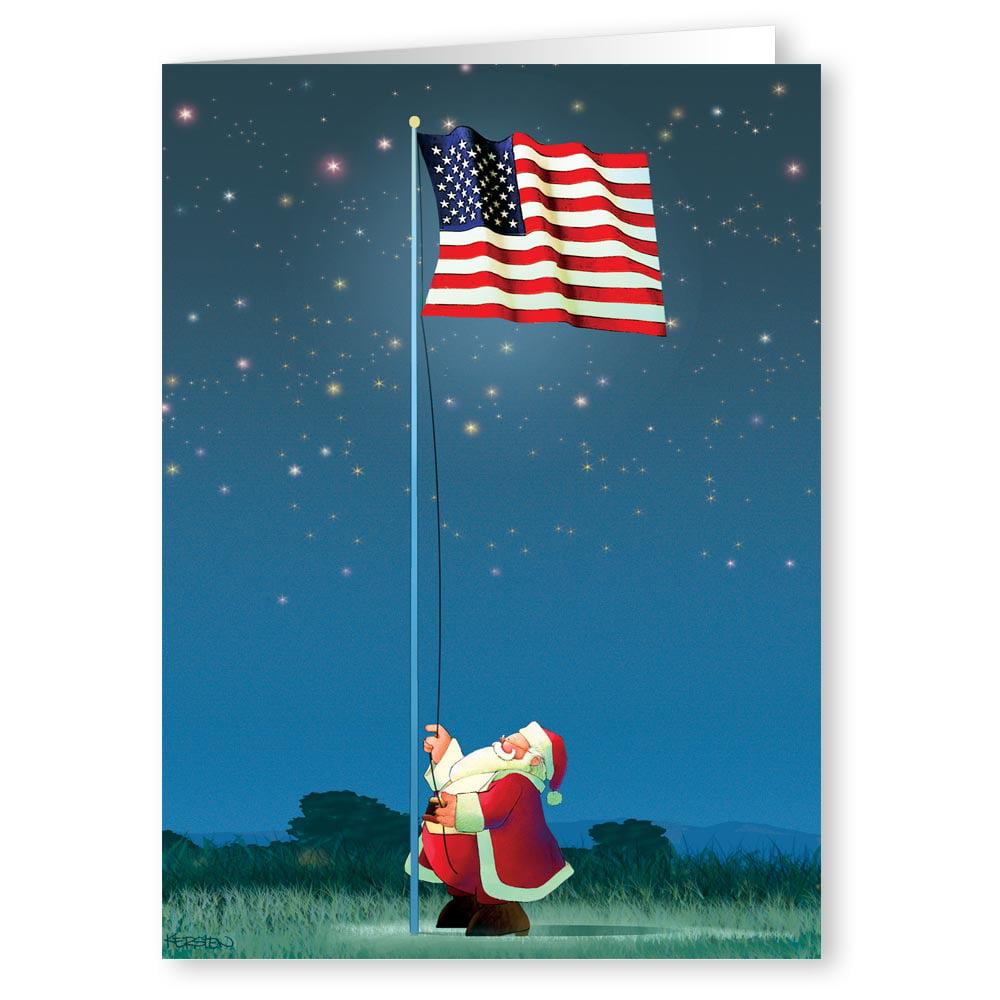 Patriotic Santa Raising the American Flag - Holiday Christmas Cards - 18 Cards and 19 Envelopes