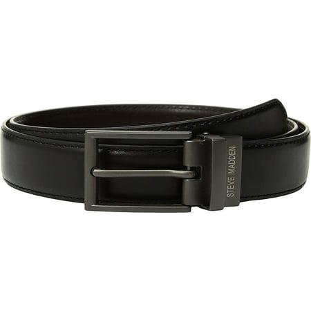 Steve Madden Men's Dress Casual Reversible Belt Black-Brown (Reversible Deluxe Belt)