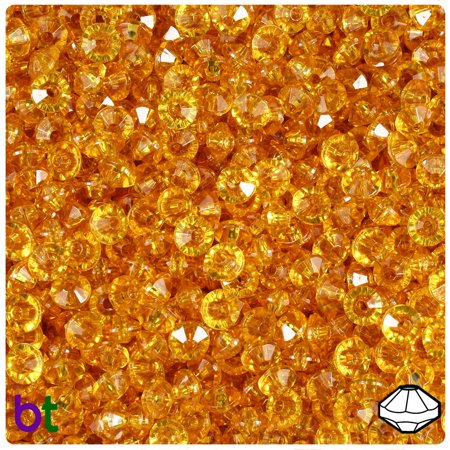 BeadTin Topaz Transparent 6mm Faceted Rondelle Craft Beads (Citrine Faceted Rondelle Beads)