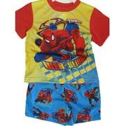 Little Boys Sky Blue Superhero Cartoon Inspired 2 Pc Shorts Set 2T-4T