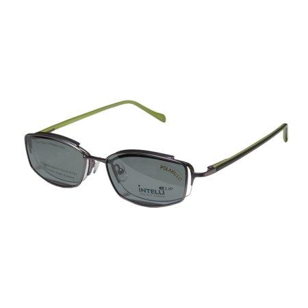 Hip Pack Spring (New Elite Elegant Hip Clipon Eyewear 748 Mens/Womens Designer Half-Rim Matte Silver / Olive Frame Demo Lenses 50-18-135 Sunglass Lens Clip-Ons Spring Hinges Eyeglasses/Eyeglass Frame )