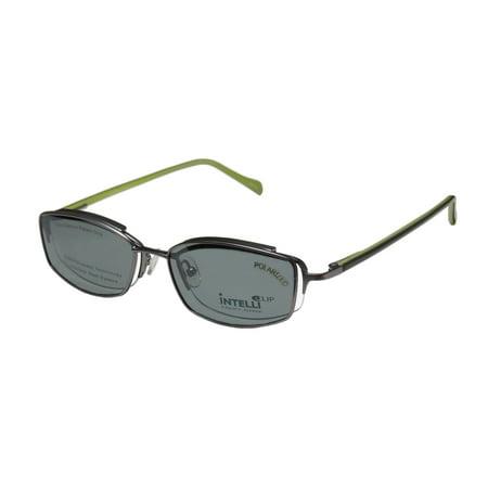 New Elite Elegant Hip Clipon Eyewear 748 Mens/Womens Designer Half-Rim Matte Silver / Olive Frame Demo Lenses 50-18-135 Sunglass Lens Clip-Ons Spring Hinges Eyeglasses/Eyeglass (Hip Eyewear)