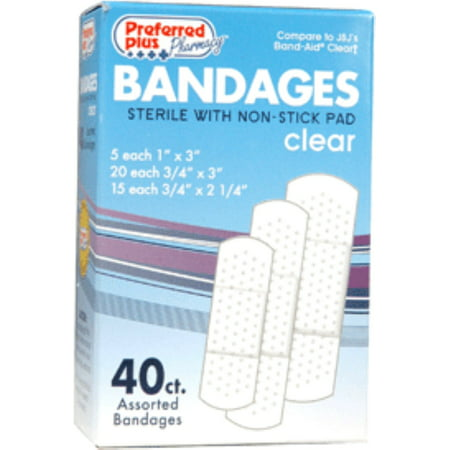 Bandages  Clear Adhesive Sterile with Non-Stick Pads, Assorted Size 40 ea