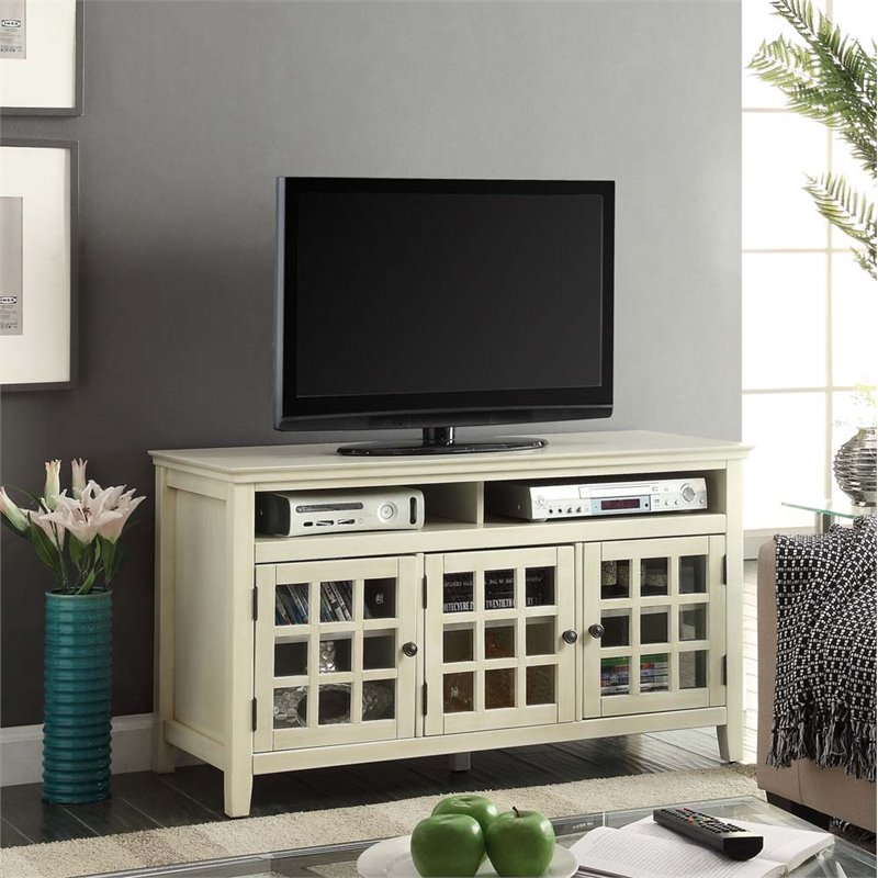 Riverbay Furniture TV Stand in Distressed White