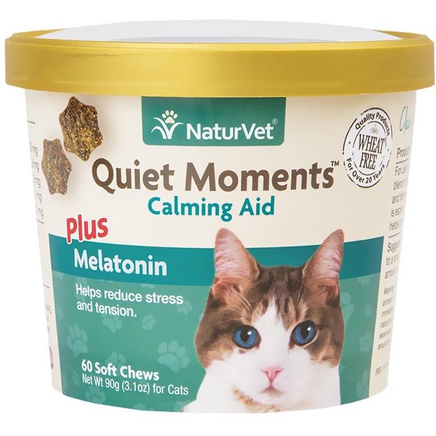 NaturVet Quiet Moments Calming Aid Plus Melatonin for Cats, 60 Soft Chew
