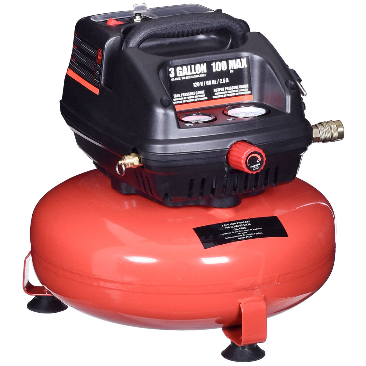 Gymax 3 Gallon 100 PSI Oil-Free Pancake Air Compressor 0.5 HP Motor Portable